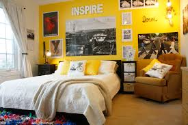 brigt yellow paint colors for a teenage girls bedroom with a brown