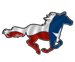 mustang tx decal tx state flag texan pony mustang vinyl sticker