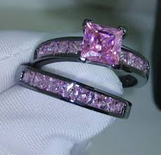 black and pink wedding ring sets womens rings black gold wedding set center from in
