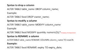 Alter Table Change Column Name Relational Database Management System Rdbms Structured Query
