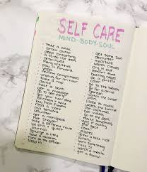 self care in the bullet journal cheat sheet and ideas bullet