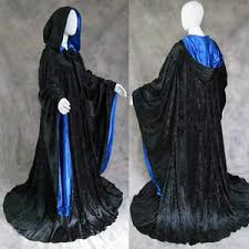 velvet robe black blue wizard cloak larp cosplay lotr game of