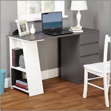 furniture grey and white wooden computer desk with book shelf and
