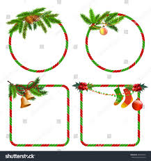 Christmas Tree Picture Frames Set Christmas Frames Labels Stickers Branches Stock Vector