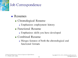 Combined Resume Technical Communication A Practical Approach Chapter 16 The Job