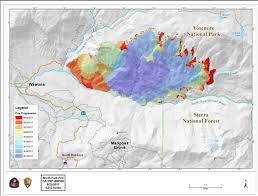 Map Of Yosemite Progression Map For South Fork Fire In Yosemite National Park For