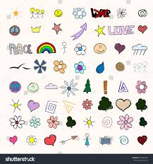 set small colorful funny sketches stock vector 393843946