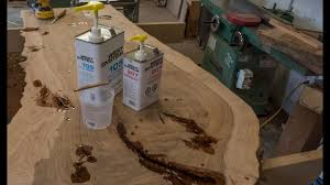 live edge river table epoxy how to fill cracks with epoxy live edge table pt 4 youtube