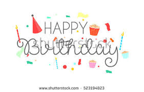 simple happy birthday typography candle on stock vector 640000360