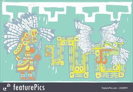 Teotihuacan Map Illustration Of Teotihuacan Warrior And Kukulkan