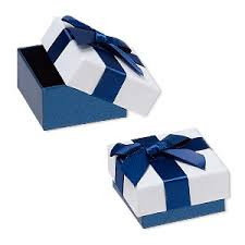 white and blue ribbon gift box cardboard paper velveteen shimmer