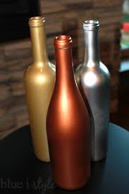 silver wine bottles decorating with style metallic wine bottle vases for fall blue