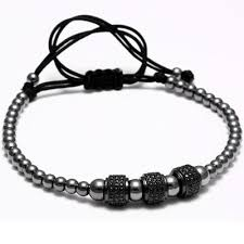 macrame bracelet with beads images Men jewelry titanium steel beads braiding macrame bracelet 8mm jpg