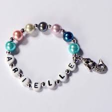 infant name bracelet pearl and silver mermaid charm bracelet personalized name