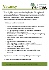 Seeking Director Thrive Is Seeking An Executive Director Hout Bay Partnership