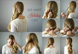 front view of side swept hairstyles how to do side swept holiday curls step by step tutorial