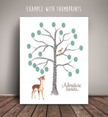 Baby Deer Nursery Woodland Deer Baby Shower Guest Book Thumbprint Birch Tree