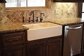 kitchen travertine backsplash farmhouse sink kitchen bronze danze travertine backsplash