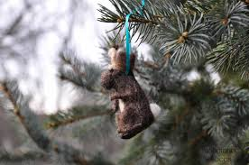 unique jackalope needle felted wool christmas ornament with bright