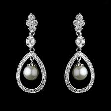 wedding earrings drop elegance by carbonneau silver cz and pearl drop earrings tradesy