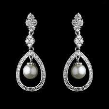 drop earrings wedding elegance by carbonneau silver cz and pearl drop earrings tradesy