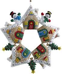 bucilla gingerbread house wreath felt applique kit