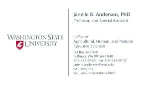 Standard Business Card Format Stationery Brand Washington State University