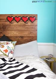 Legend Of Zelda Bedroom Our New Diy Headboard Rustic Wood And 8 Bit Hearts Our Nerd Home