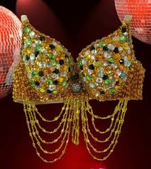 mardi gras bra beaded carnival dancer bra with emeralds diamonds and crystals