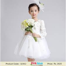 long sleeves white communion dress for baby and toddler
