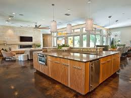 9 open floor plan with large kitchen island plans peachy design