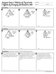 free surface area u0026 volume of triangular prisms worksheet