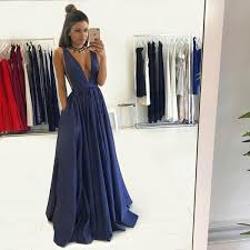 formal gown navy blue v neck formal gown satin evening dress with shirred