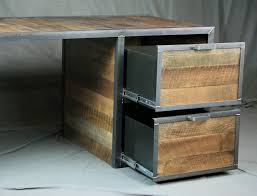 Desks With Drawers On Both Sides Combine 9 Industrial Furniture U2013 Reclaimed Wood Desk With File