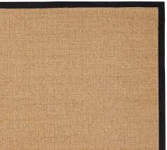 Square Sisal Rugs Color Bound Natural Sisal Rug Black Pottery Barn