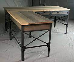 Industrial Table L Industrial L Shaped Desk With Drawers Modern