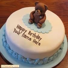 write name on teddy bear birthday cake happy birthday cake with name