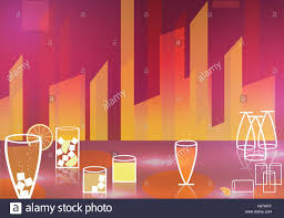 retro cocktail party poster background vector illustration stock