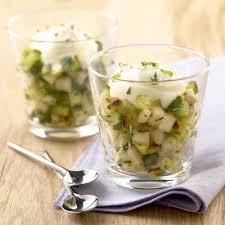 cuisiner concombre recette verrine concombre de poire et menthe aux pignons