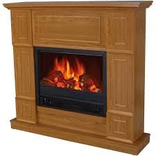 44 u2033 wood brown tv stand electric fireplace heater with mantle