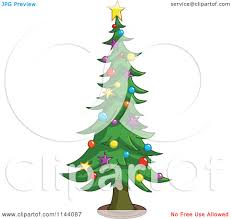 cartoon of a tall christmas tree with star and bauble ornaments