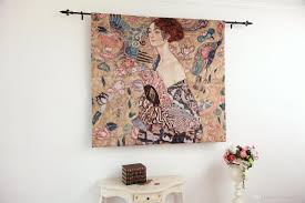 gustav klimt lady with fan fine art tapestry wall hanging home