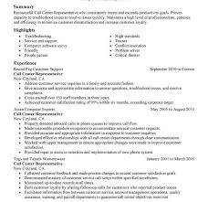 resume examples for call center customer service call center