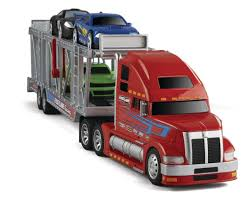 car carrier truck fast lane race car carrier with 4 cars red toys