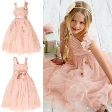 beauty light pink tulle flower dresses wedding gowns beaded
