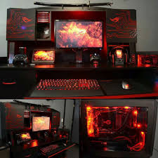futuristic red black computer desk setup computer setup and