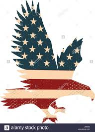 American Flag Design Eagle Silhouette On The Usa Flag Background Design Element For