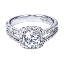white gold halo engagement rings gabriel co 14k white gold contemporary halo engagement ring