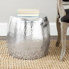 Old Wooden Coffee Tables by Round Hammered Metal Coffee Table Painted With Silver Color Beside