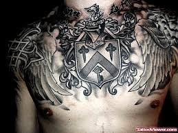 awesome grey ink family crest on chest viewer com